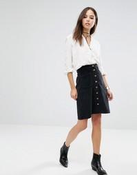 Вельветовая юбка на пуговицах Brave Soul - Черный