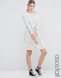 Меланжевое свободное платье в стиле casual ASOS TALL - Серый