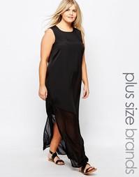 Платье макси без рукавов с полупрозрачным низом Junarose - Черный