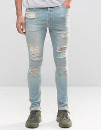 Светлые рваные супероблегающие джинсы в байкерском стиле ASOS