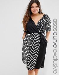 Платье с запахом и монохромным принтом ASOS CURVE - Мульти