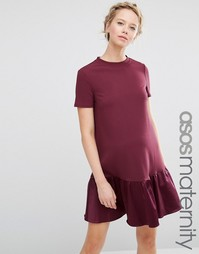 ASOS Maternity Shift Dress with Peplum Hem - Ягодный