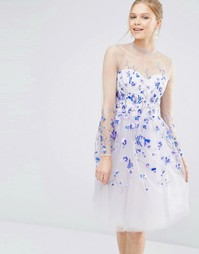 Тюлевое платье миди с длинными рукавами и вышивкой Chi Chi London