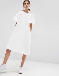 Фактурное платье-трапеция миди с оборками на рукавах ASOS WHITE