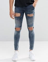 Байкерские джинсы скинни с рваной отделкой SikSilk - Синий
