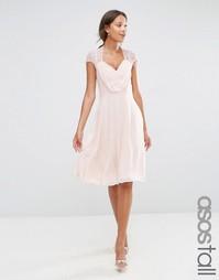 Кружевное платье миди ASOS TALL Kate - Телесный