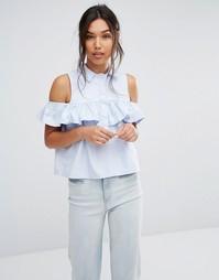 Рубашка с открытыми плечами и оборкой Boohoo - Синий