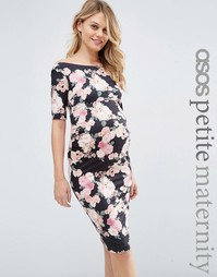 ASOS Maternity PETITE Bardot Dress With Half Sleeve in Pink Floral Pri