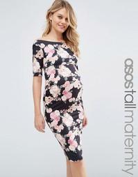 Цветочное платье бардо для беременных с укороченными рукавами ASOS Mat