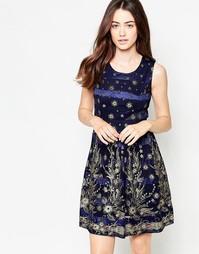 Платье с цветочным узором и блестками Mela Loves London - Темно-синий