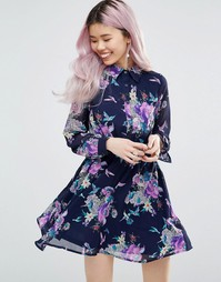 Платье-рубашка с длинными рукавами и цветочным принтом Yumi