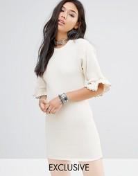 Винтажное платье в рубчик с кружевной отделкой Milk It - Бежевый
