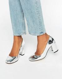 Серебристые кожаные туфли на каблуке с квадратным носком Dune Abell