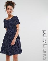 Платье в горошек с завязкой сзади Yumi Petite - Темно-синий