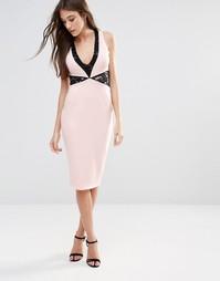 Платье-футляр миди с кружевными вставками Hedonia - Blush