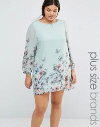 Цельнокройное платье с принтом бабочек Yumi Plus - Мятный