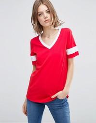 Удлиненная футболка с V-образным вырезом и вставками из плотной ленты Asos