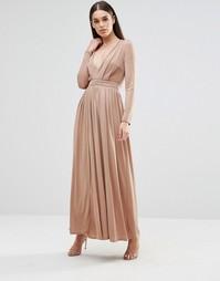 Платье макси с длинными рукавами и разрезом спереди Sistaglam - Mink