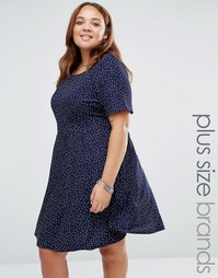 Платье в горошек с завязкой сзади Yumi Plus - Темно-синий