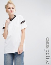 ASOS PETITE T-Shirt With Sparkly Stripe Insert - Кремовый