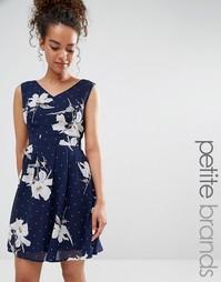 Короткое приталенное платье с принтом Yumi Petite - Темно-синий
