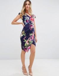 Платье-футляр с асимметричной кромкой и цветочным принтом Jessica Wrig