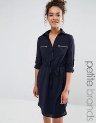 Платье-рубашка с завязкой на талии Yumi Petite - Темно-синий