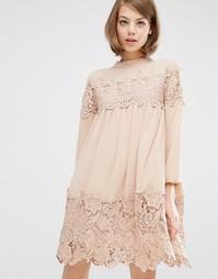 Свободное платье с длинными рукавами и кружевными вставками Fashion Un