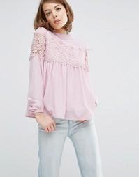 Нарядная кружевная блузка Fashion Union - Пыльно-лиловый