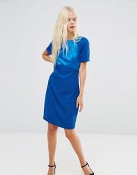 Синее цельнокройное платье с тканым топом Y.A.S - Ta