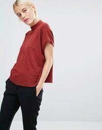 Трикотажная футболка с высокой горловиной Monki - Меланж