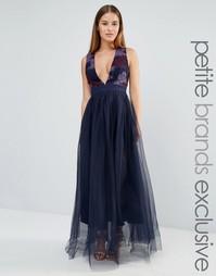 Платье макси с тюлевой юбкой True Decadence Petite - Фиолетовый