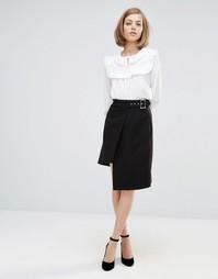Асимметричная юбка с запахом спереди Lost Ink - Черный