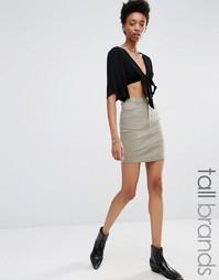 Джинсовая мини-юбка Missguided Tall - Мягкий цвет хаки