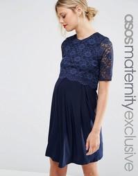 Короткое приталенное платье в два слоя с кружевом для беременных и кор Asos Maternity