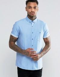 Саржевая рубашка классического кроя с короткими рукавами ASOS - Синий