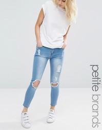 Рваные облегающие джинсы Liquor & Poker Petite - Синий выбеленный