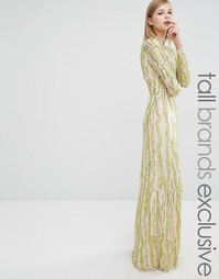 Платье макси с длинными рукавами и пайетками Maya Tall - Лайм