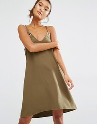 Платье-сорочка с люверсами First & I - Темно-оливковый
