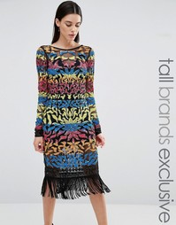 Платье мини с длинными рукавами и отделкой пайетками Maya Tall