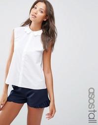 Белая рубашка без рукавов с фигурным воротником ASOS TALL - Белый