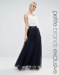 Пышная юбка макси из тюля True Decadence Petite - Темно-синий