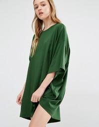 Платье-футболка Weekday Huge - Темно-зеленый