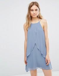 Платье с оборками и халтером BCBG Generation - Синий