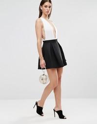 Плиссированная расклешенная короткая юбка Twin Sister - Черный