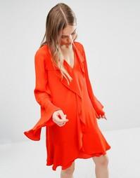 Свободное платье с оборкой на горловине BCBG Max Azria