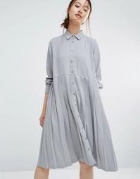 Свободное платье-рубашка с плиссировкой Zacro - Серый