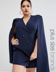 Платье-кейп с разрезом сзади Lavish Alice Plus - Темно-синий