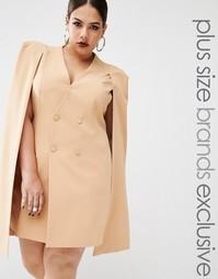 Платье-кейп с разрезом сзади Lavish Alice Plus - Бежевый
