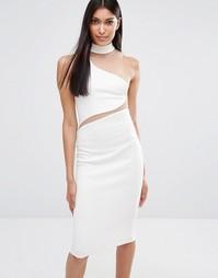 Платье миди с асимметричной горловиной Missguided - Слоновая кость
